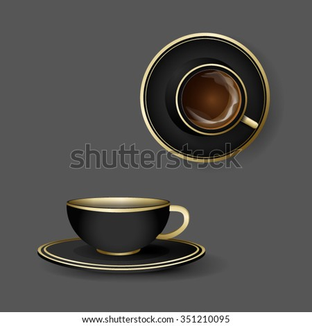 Mockup template for branding and product designs. Isolated realistic porcelane cups with shadows. Easy to use for advertising. - stock vector
