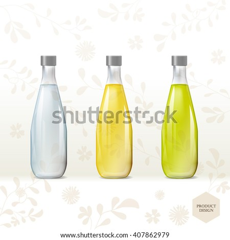 Mockup template for branding and product designs. Isolated realistic transparent bottles with unique design. Easy to use for advertising branding and marketing. - stock vector