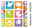 Mod Chair icons (Vector)  Retro stylized chair Icons on colorful backgrounds. Easy-edit layered vector file--No transparencies or strokes! - stock vector