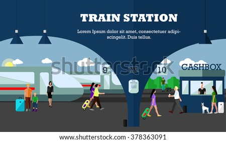 Mode of Transport concept vector illustration. Railway station banner. Design elements in flat style. City transportation objects: train, platforms, tickets office. - stock vector