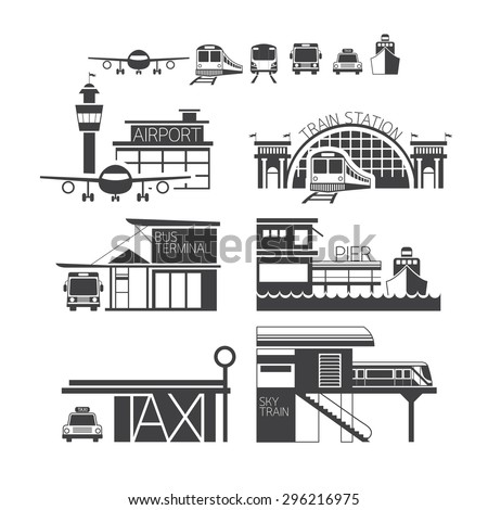 Mode of Transport Illustration Icons Objects Monochrome, Station Concept - stock vector