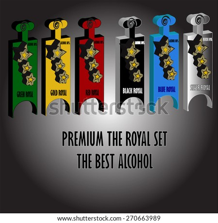Model bottle set vector design template,alcohol,whiskey,Rum,Brandy,vodka - stock vector