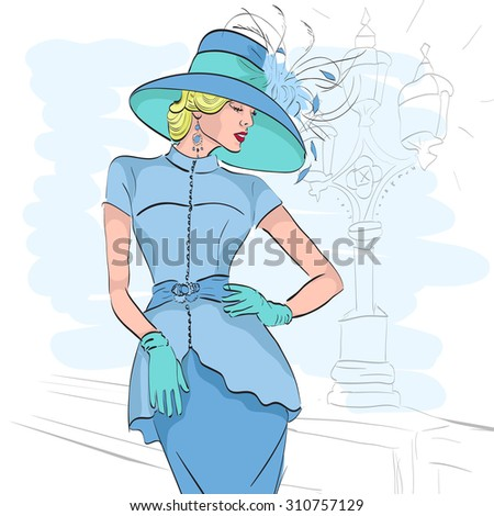 Model fashion sketch. Excellent vector illustration, EPS 10 - stock vector