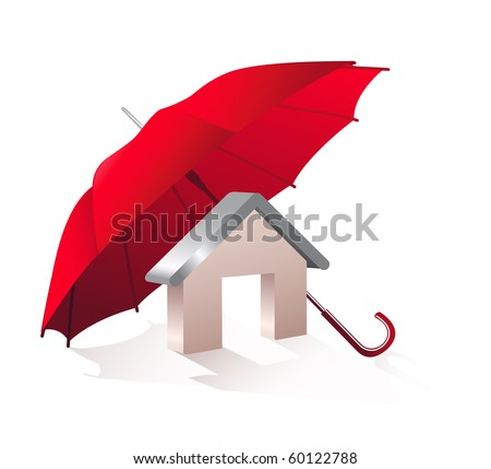 Model home and a red umbrella on a white background.