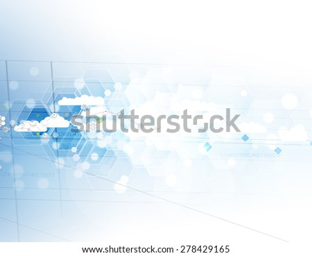 Model of Integration technology with cloud in the sky. Best ideas for Business presentation