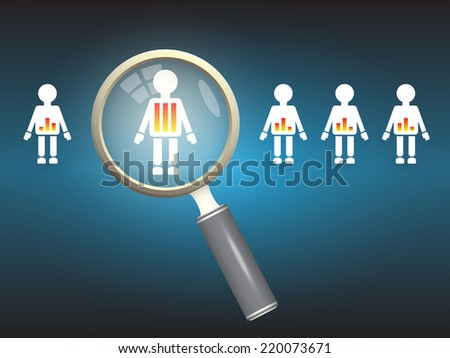 Model of people and magnifier on dark background. - stock vector