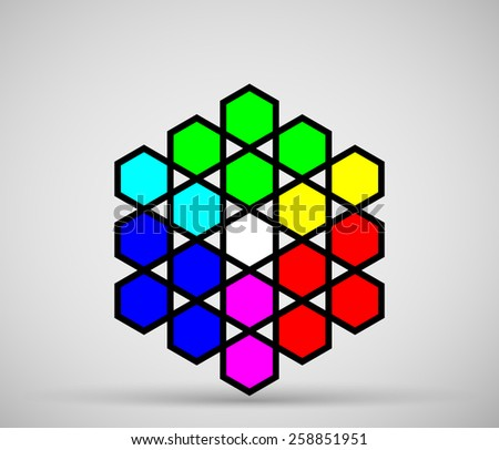 Model of RGB colors, made from hexagons - stock vector