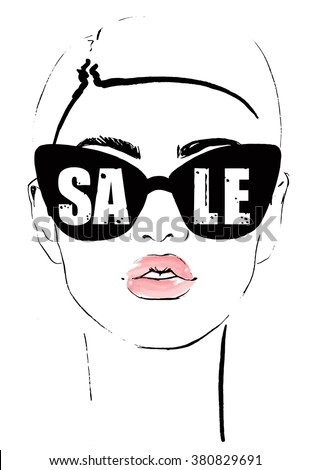 Model Women Face in fashion sunglasses shopping - stock vector