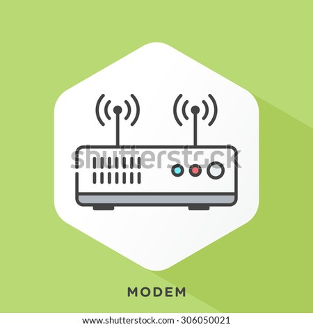 Modem icon with dark grey outline and offset flat colors. Modern style minimalistic vector illustration for installing modem, password, active, internet provider. - stock vector
