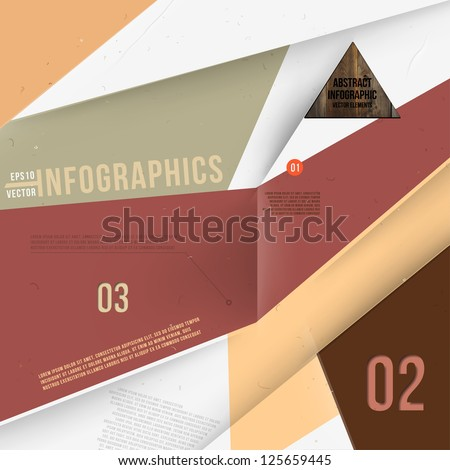 Moder abstract banner design for infographics, business design and website templates, cutout lines and numbers, retro colors. Esp 10 vector illustration - stock vector