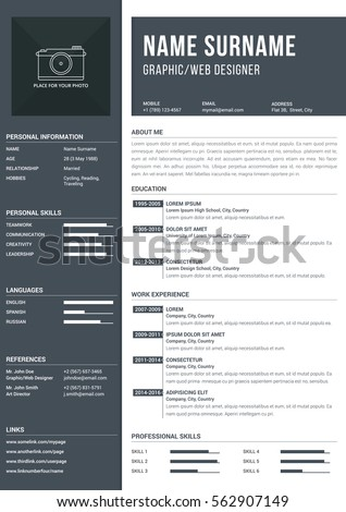 Modern a4 one page resume template with timelines for education and work experience, vector eps10 illustration