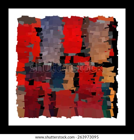 Modern abstract art bright blots and splashes in a black frame - stock vector
