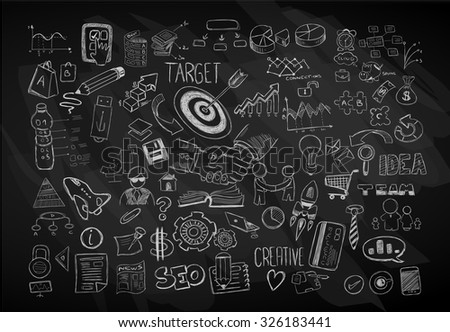 Modern Abstract background with hand drawn doodle sketches  for Flyer Designs, Brochure layouts, Business Card templates, Website wallpapers, Magazine Covers or presentations. - stock vector