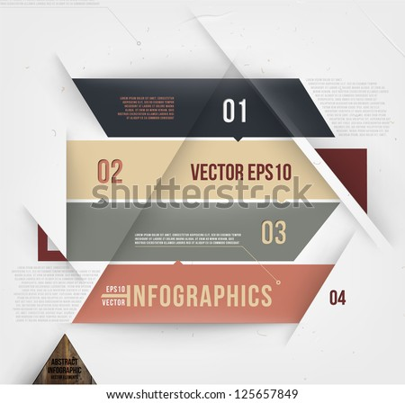 Modern abstract banner design for infographics, business design and website templates, cutout lines and numbers, retro colors. Esp 10 vector illustration - stock vector
