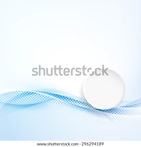 Modern abstract brochure folder layout in blue color with white circle over soft futuristic swoosh waves. Vector illustration - stock vector