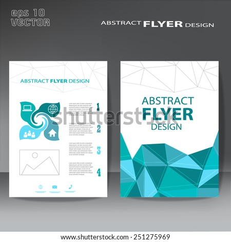 Modern abstract brochure , Vector flyer design template with low poly - stock vector