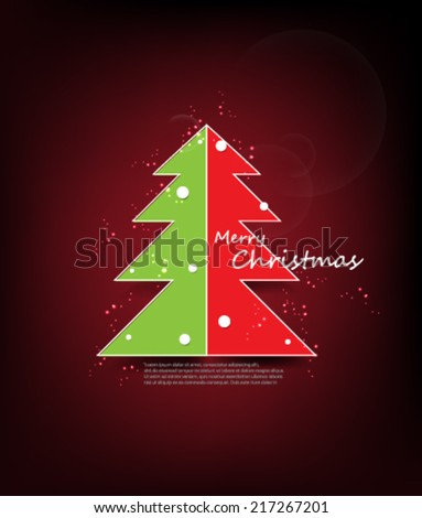 Modern Abstract Christmas Tree Background - stock vector