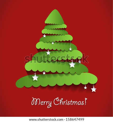 Modern abstract christmas tree on red background with stars. Vector eps10. - stock vector