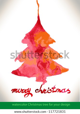 Modern abstract christmas tree watercolor vector background, vector illustration - stock vector