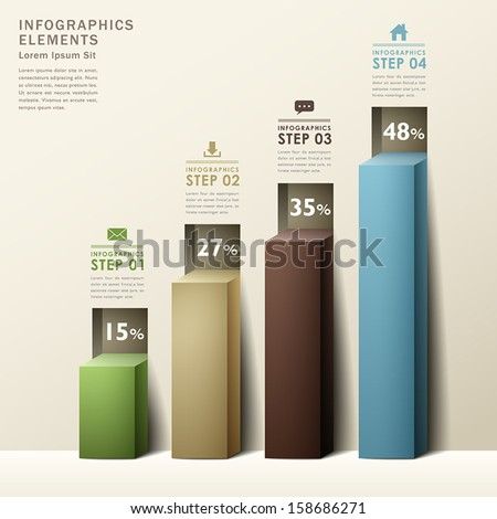 modern abstract 3d chart infographic elements - stock vector
