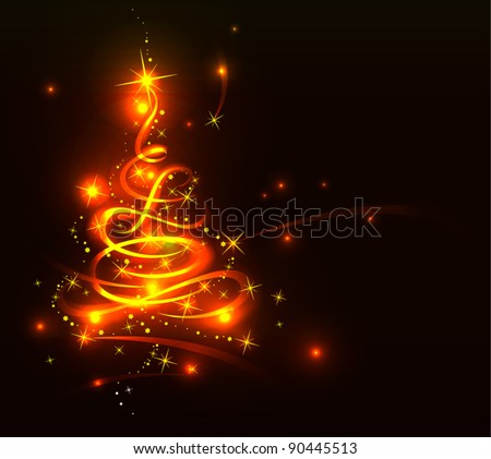 Modern abstract golden christmas tree, eps 10 - stock vector