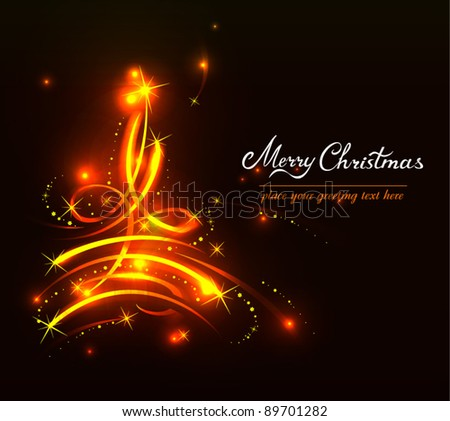 Modern abstract golden Christmas tree in motion, eps 10 - stock vector