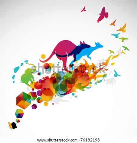 modern abstract illustration with jumping kangaroo, birds - stock vector