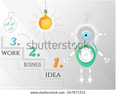 Modern, abstract infographic with robot and light bulb - stock vector