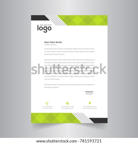 modern abstract letterhead design with green color