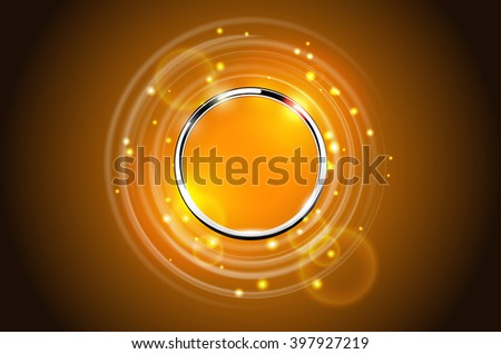 Modern abstract metal ring sparkling background. Chrome round frame with light circle, flare and spark light effect. Vector orange glowing stainless steel logo place concept. - stock vector