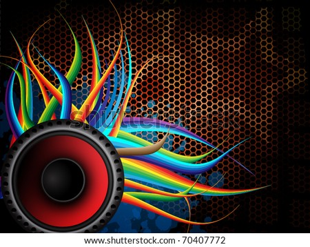 Modern abstract music background with speaker - stock vector