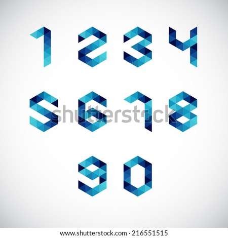 Modern Abstract Number Alphabet-Geometric Style - stock vector