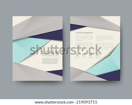 modern abstract poster template set in blue and grey  - stock vector