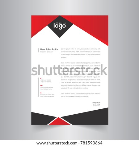 modern abstract red black letterhead design