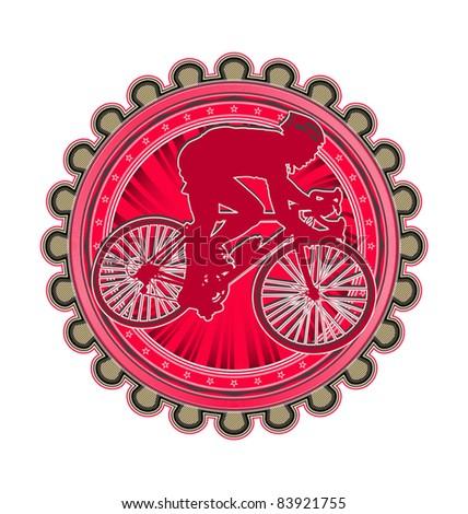 Modern abstract sport emblem design. Cycling. - stock vector
