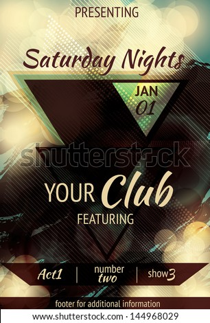Modern Abstract triangle design light effect club flyer - stock vector