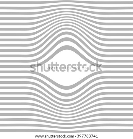 Modern abstract wavy lines background. Gap in lines. Cover template. Wall print design. Striped fabric decor. Volume 3d optical illusion