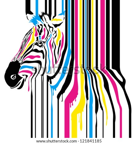 Modern abstract zebra cmyk concept, can be used for print projects, greeting card, tshirt, background - stock vector