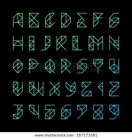 Modern alphabet letters and numbers. Vector. - stock vector