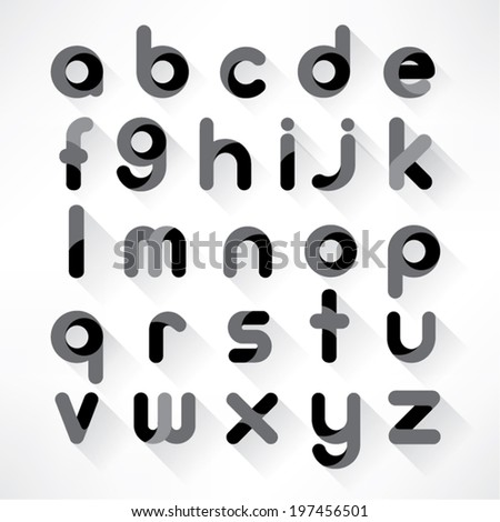 Modern Alphabet Set with Shadow - stock vector