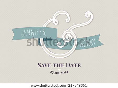 Modern Ampersand Wedding invitation template. Save the Date - stock vector