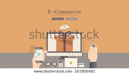 Modern and classic design e-commerce concept illustration - stock vector