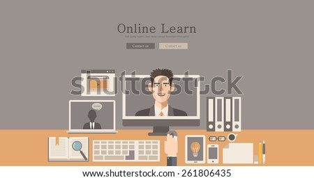 Modern and classic design illustration online learn concept illustration - stock vector