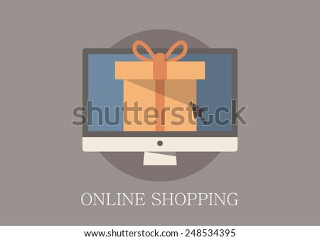 Modern and classic design online shopping concept flat icon - stock vector