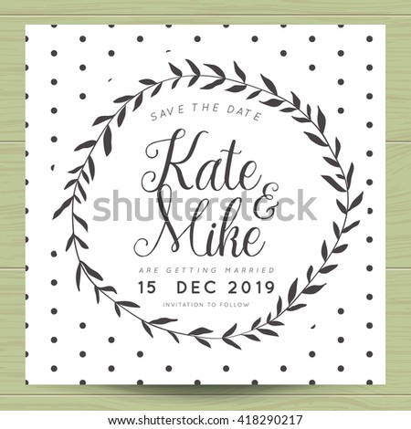 Modern clean save date wedding invitation stock vector 2018 modern and clean save the date wedding invitation card with wreath flower template and polka stopboris Images