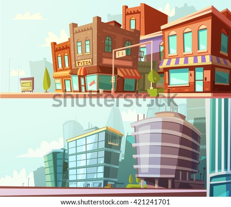Modern and historical city districts street view day skyline 2 horizontal banners set cartoon isolated vector illustration - stock vector