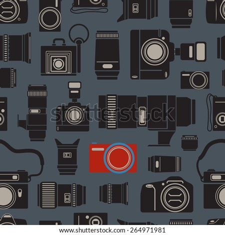 Modern and retro photo technics seamless background - stock vector