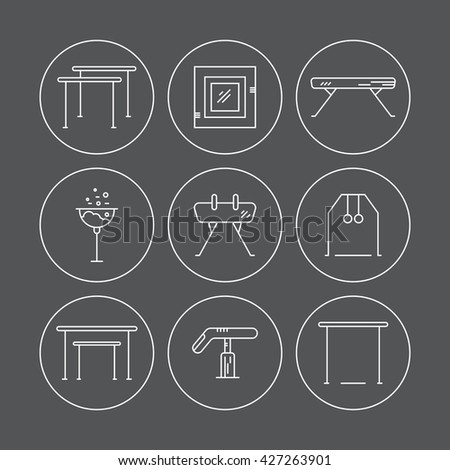Modern and unique Artistic gymnastics icons and symbols collection made in modern linear vector style. Clean vector series. Athlete or gymnast icon collection. - stock vector
