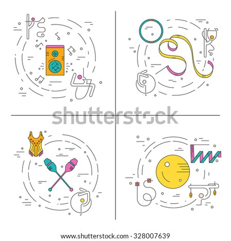 Modern and unique rhythmic gymnastics concept made in modern linear vector style. Flyer and banner collection. Sport and fitness vector.  - stock vector