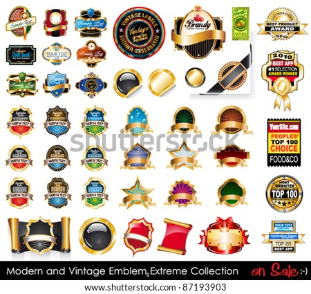 Modern and Vintage Emblems Extreme Collection. Big variety of emblems,  vintage labels and sticker to use for advertise or food or bottle packaging. - stock vector